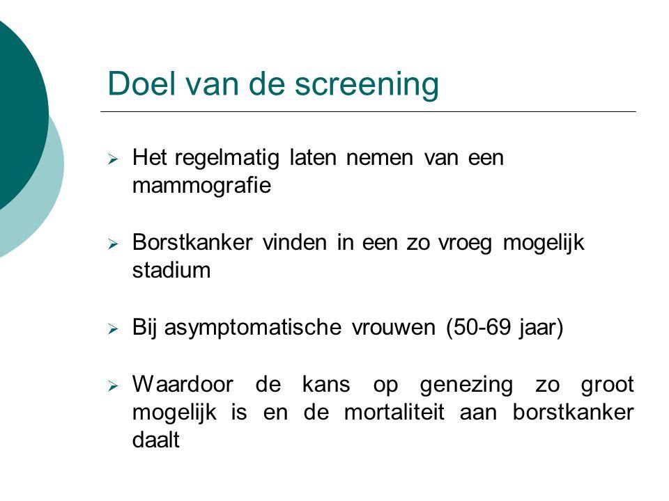 Doel van de screening  Het regelmatig laten nemen van een mammografie  Borstkanker vinden in een zo vroeg mogelijk stadium  Bij asymptomatische vro