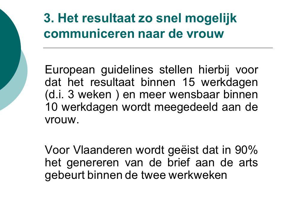 3. Het resultaat zo snel mogelijk communiceren naar de vrouw European guidelines stellen hierbij voor dat het resultaat binnen 15 werkdagen (d.i. 3 we