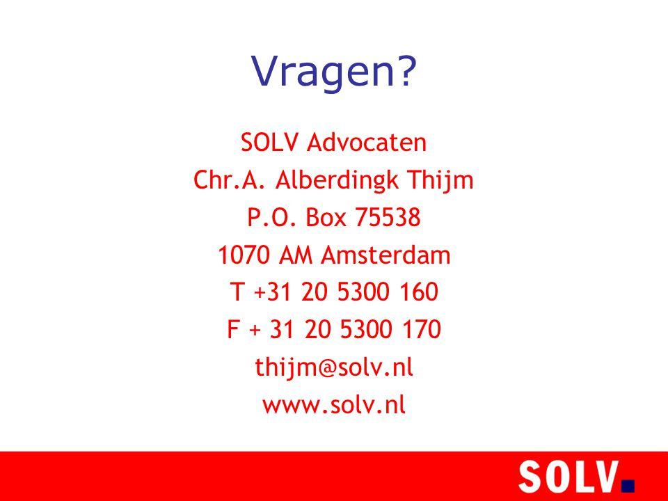 Vragen. SOLV Advocaten Chr.A. Alberdingk Thijm P.O.