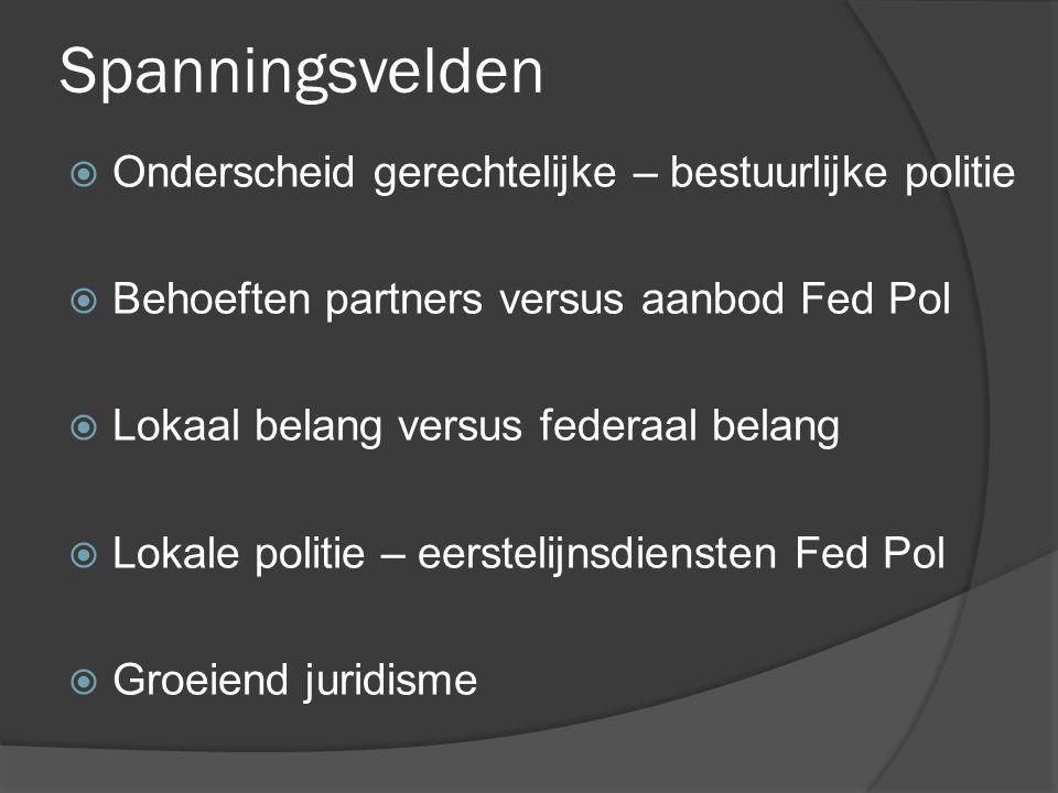 Spanningsvelden  Onderscheid gerechtelijke – bestuurlijke politie  Behoeften partners versus aanbod Fed Pol  Lokaal belang versus federaal belang 