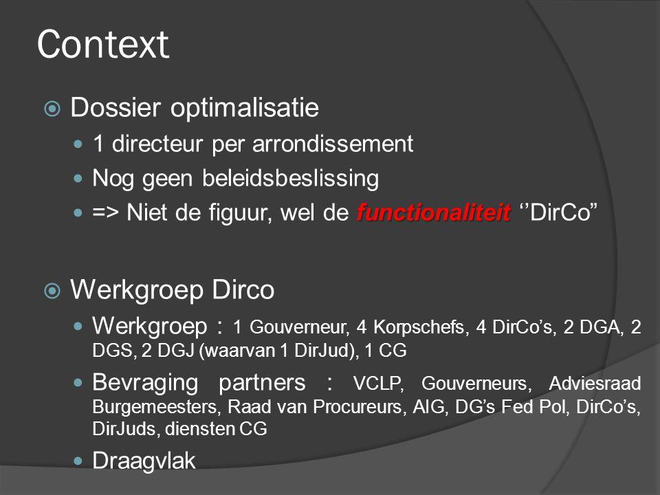 Context  Dossier optimalisatie 1 directeur per arrondissement Nog geen beleidsbeslissing functionaliteit => Niet de figuur, wel de functionaliteit ''