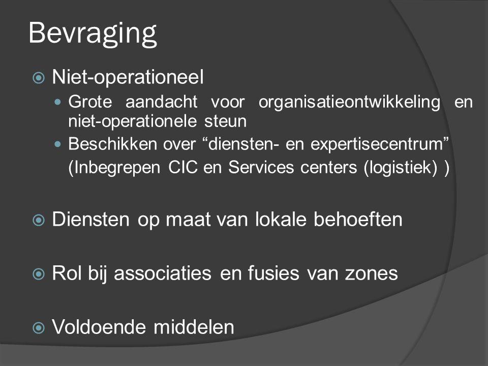 """Bevraging  Niet-operationeel Grote aandacht voor organisatieontwikkeling en niet-operationele steun Beschikken over """"diensten- en expertisecentrum"""" ("""