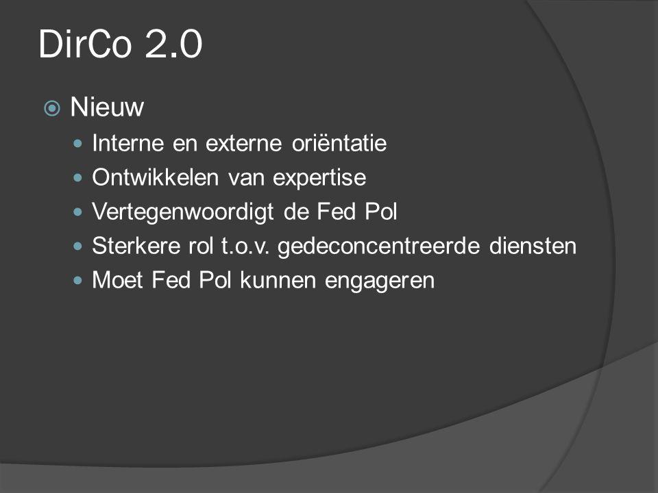 DirCo 2.0  Nieuw Interne en externe oriëntatie Ontwikkelen van expertise Vertegenwoordigt de Fed Pol Sterkere rol t.o.v. gedeconcentreerde diensten M