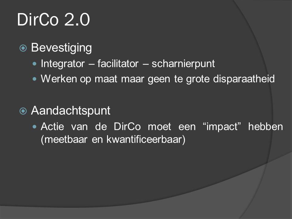 DirCo 2.0  Bevestiging Integrator – facilitator – scharnierpunt Werken op maat maar geen te grote disparaatheid  Aandachtspunt Actie van de DirCo mo