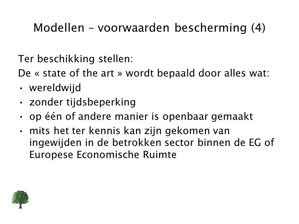 Modellen – voorwaarden bescherming (4) Ter beschikking stellen: De « state of the art » wordt bepaald door alles wat: wereldwijd zonder tijdsbeperking