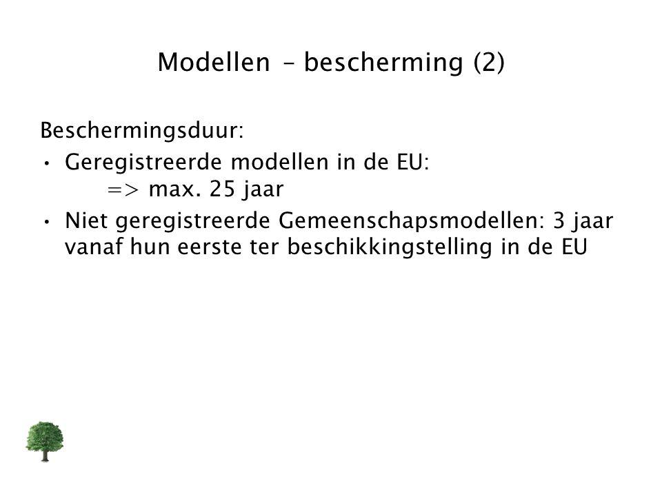Modellen – bescherming (2) Beschermingsduur: Geregistreerde modellen in de EU: => max. 25 jaar Niet geregistreerde Gemeenschapsmodellen: 3 jaar vanaf