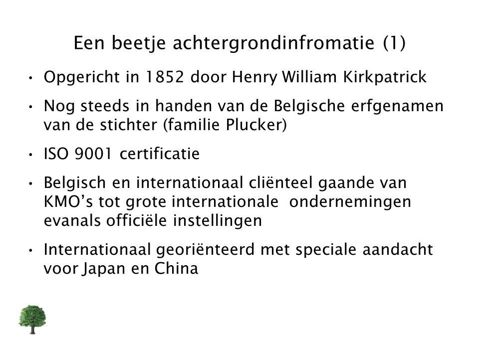 Een beetje achtergrondinfromatie (1) Opgericht in 1852 door Henry William Kirkpatrick Nog steeds in handen van de Belgische erfgenamen van de stichter