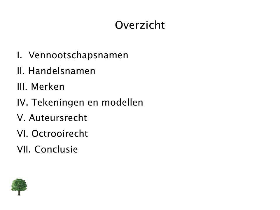Overzicht I. Vennootschapsnamen II. Handelsnamen III. Merken IV. Tekeningen en modellen V. Auteursrecht VI. Octrooirecht VII. Conclusie