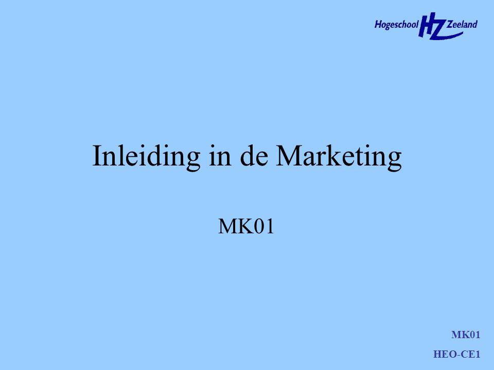 MK01 HEO-CE1 Marketing Marketing omvat de - op de markt afgestemde- ontwikkeling, prijsbepaling, promotie en distributie van producten, diensten of ideeën en andere relevante activiteiten om planmatig een reputatie te vestigen, ruiltransacties te bevorderen en duurzame relaties met afnemers te creëren, waardoor organisaties en belanghebbenden - met wederzijds voordeel - hun doelstellingen verwezenlijken