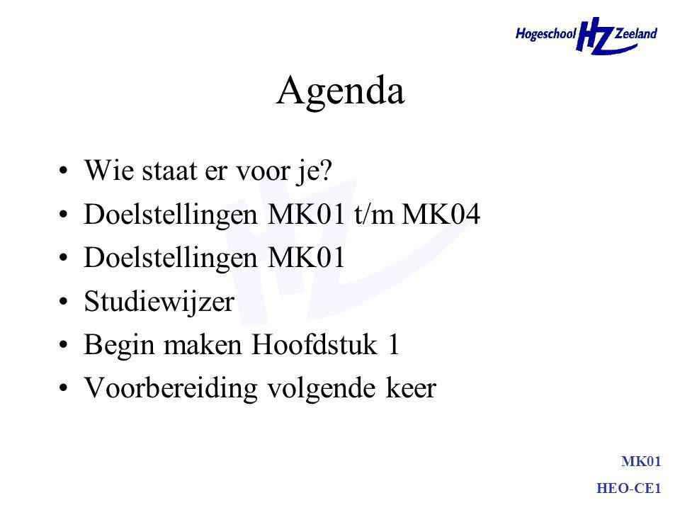 HEO-CE1 Agenda Wie staat er voor je? Doelstellingen MK01 t/m MK04 Doelstellingen MK01 Studiewijzer Begin maken Hoofdstuk 1 Voorbereiding volgende keer