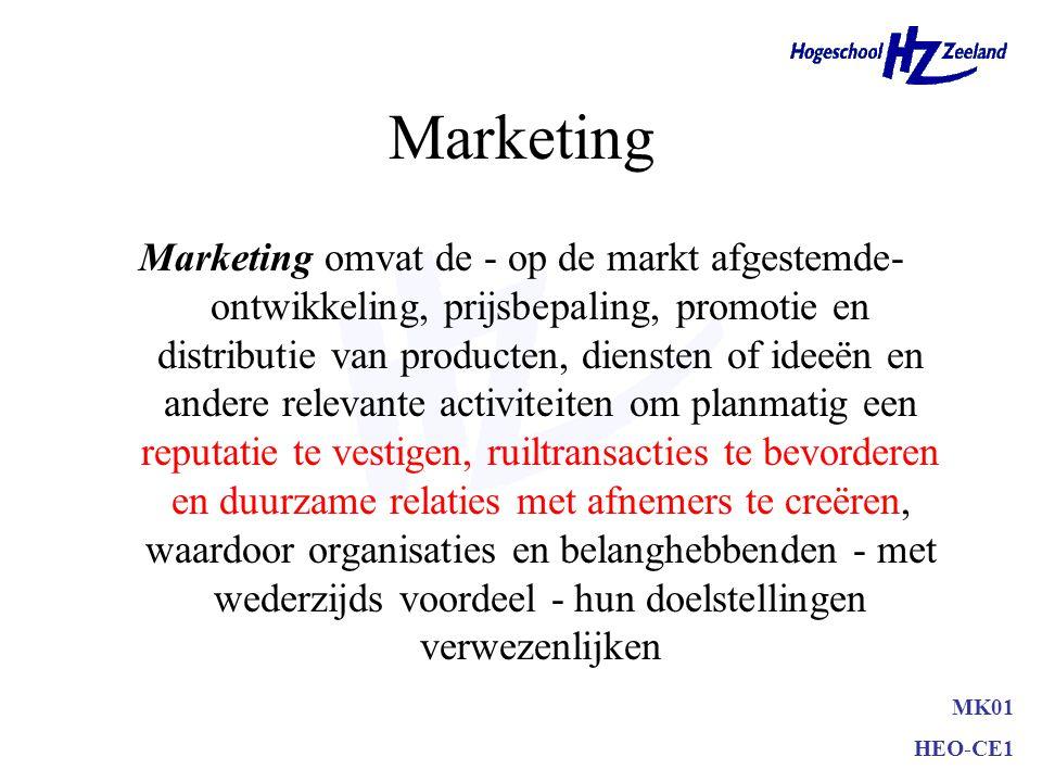 MK01 HEO-CE1 Marketing Marketing omvat de - op de markt afgestemde- ontwikkeling, prijsbepaling, promotie en distributie van producten, diensten of id