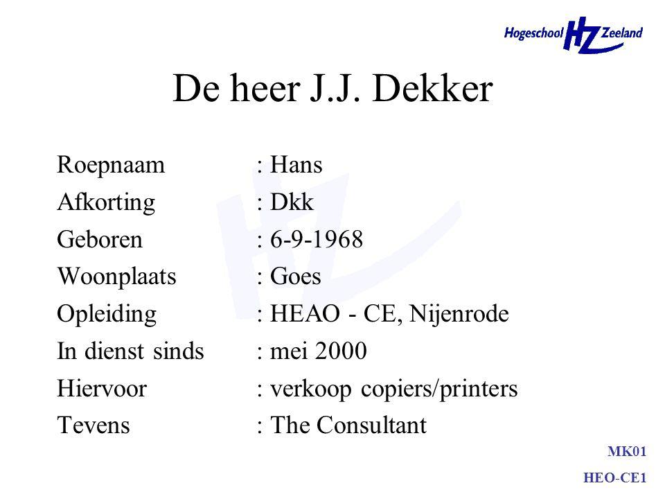 MK01 HEO-CE1 De heer J.J. Dekker Roepnaam: Hans Afkorting: Dkk Geboren: 6-9-1968 Woonplaats: Goes Opleiding: HEAO - CE, Nijenrode In dienst sinds: mei