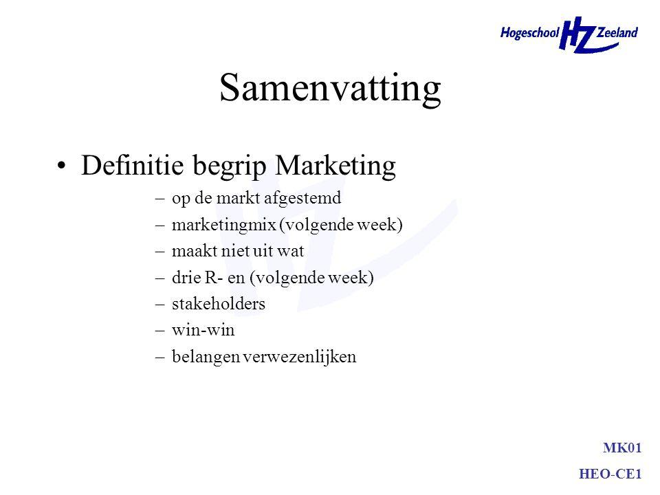 MK01 HEO-CE1 Samenvatting Definitie begrip Marketing –op de markt afgestemd –marketingmix (volgende week) –maakt niet uit wat –drie R- en (volgende we