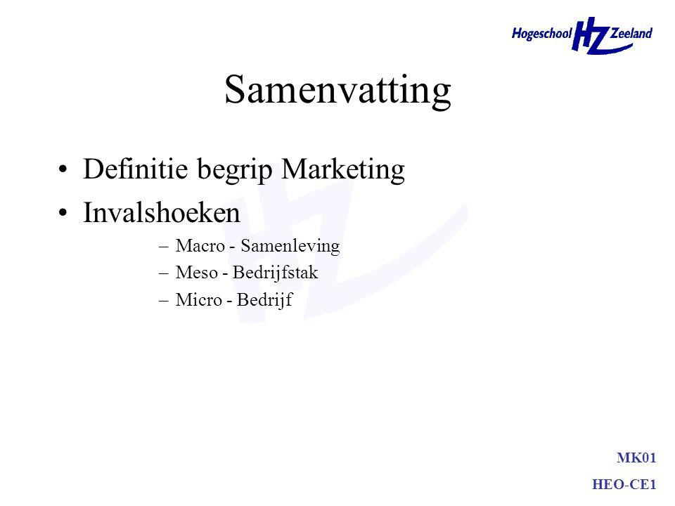 MK01 HEO-CE1 Samenvatting Definitie begrip Marketing Invalshoeken –Macro - Samenleving –Meso - Bedrijfstak –Micro - Bedrijf