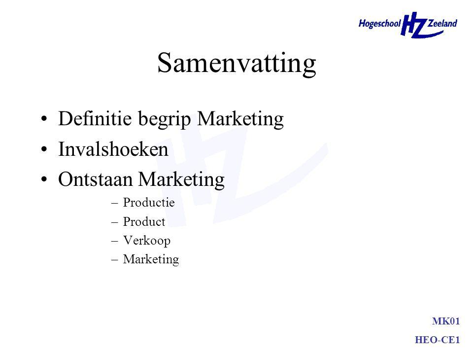 MK01 HEO-CE1 Samenvatting Definitie begrip Marketing Invalshoeken Ontstaan Marketing –Productie –Product –Verkoop –Marketing