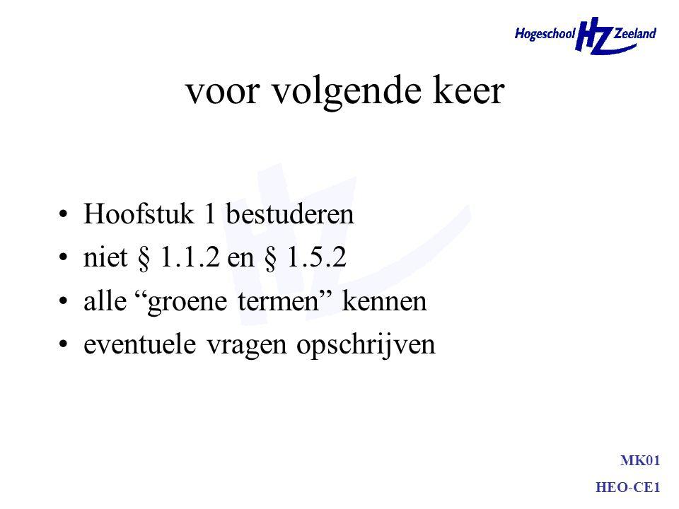 """MK01 HEO-CE1 voor volgende keer Hoofstuk 1 bestuderen niet § 1.1.2 en § 1.5.2 alle """"groene termen"""" kennen eventuele vragen opschrijven"""