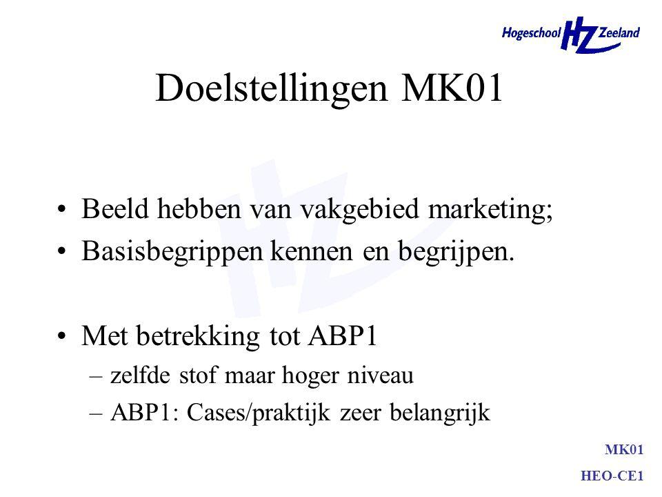 MK01 HEO-CE1 Doelstellingen MK01 Beeld hebben van vakgebied marketing; Basisbegrippen kennen en begrijpen. Met betrekking tot ABP1 –zelfde stof maar h