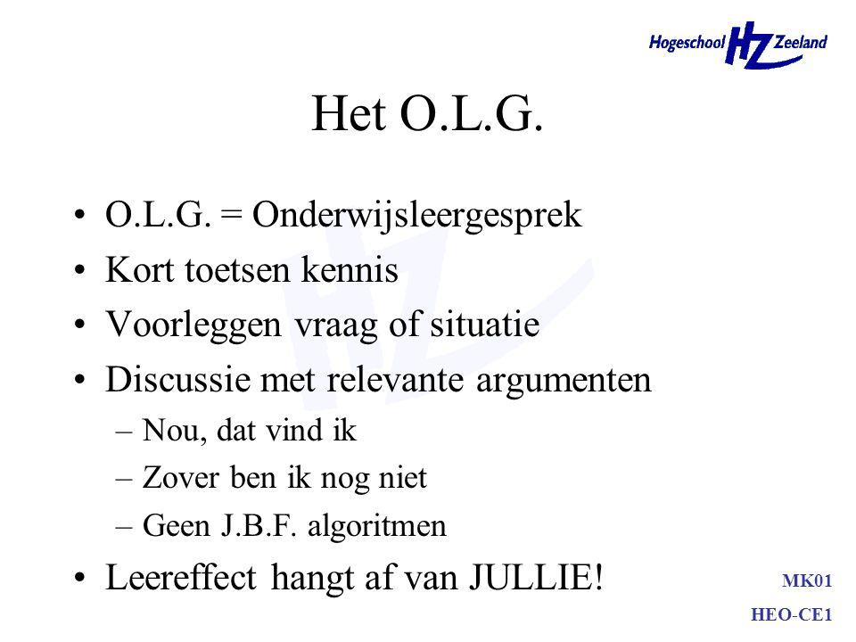 MK01 HEO-CE1 Het O.L.G. O.L.G. = Onderwijsleergesprek Kort toetsen kennis Voorleggen vraag of situatie Discussie met relevante argumenten –Nou, dat vi