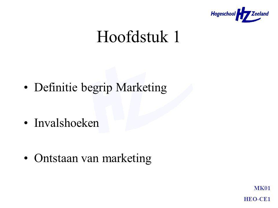 MK01 HEO-CE1 Hoofdstuk 1 Definitie begrip Marketing Invalshoeken Ontstaan van marketing