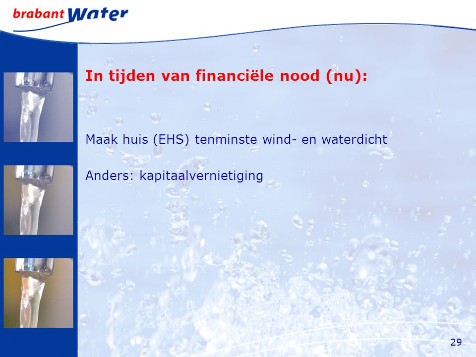 In tijden van financiële nood (nu): Maak huis (EHS) tenminste wind- en waterdicht Anders: kapitaalvernietiging 29
