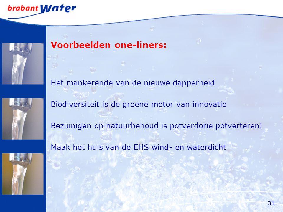 Voorbeelden one-liners: Het mankerende van de nieuwe dapperheid Biodiversiteit is de groene motor van innovatie Bezuinigen op natuurbehoud is potverdorie potverteren.