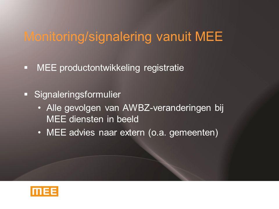 Monitoring/signalering vanuit MEE  MEE productontwikkeling registratie  Signaleringsformulier Alle gevolgen van AWBZ-veranderingen bij MEE diensten