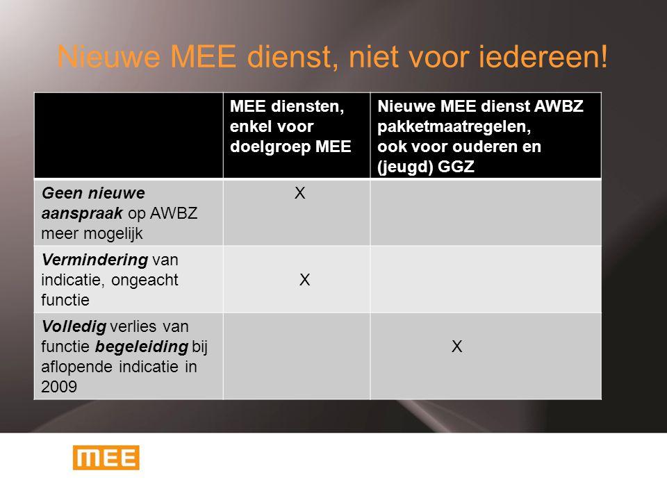 Nieuwe MEE dienst, niet voor iedereen! MEE diensten, enkel voor doelgroep MEE Nieuwe MEE dienst AWBZ pakketmaatregelen, ook voor ouderen en (jeugd) GG
