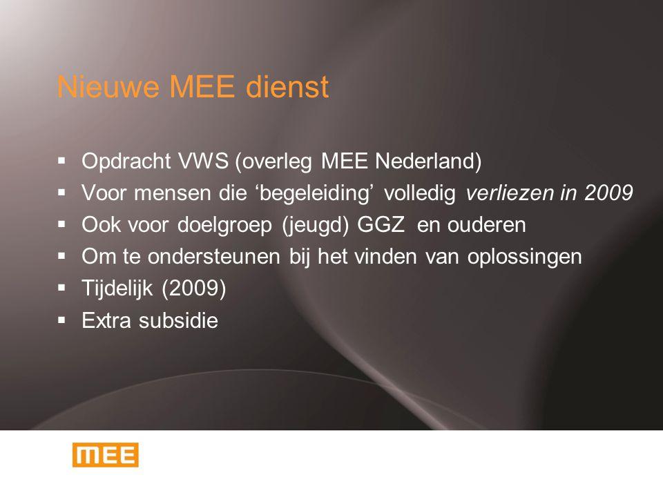 Nieuwe MEE dienst  Opdracht VWS (overleg MEE Nederland)  Voor mensen die 'begeleiding' volledig verliezen in 2009  Ook voor doelgroep (jeugd) GGZ e