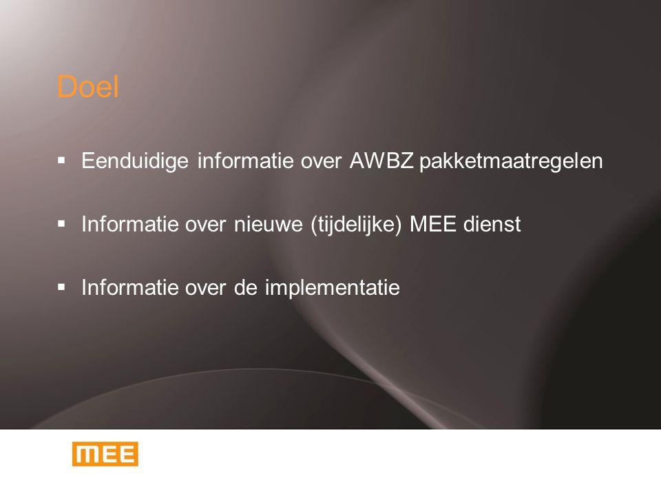 Onderwerpen  Pakketmaatregelen Uitgangspunten maatregelen Inhoud maatregelen Monitoring  MEE dienst Inhoud Implementatie