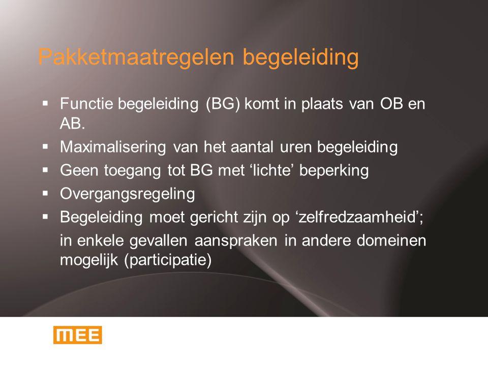 Pakketmaatregelen begeleiding  Functie begeleiding (BG) komt in plaats van OB en AB.  Maximalisering van het aantal uren begeleiding  Geen toegang