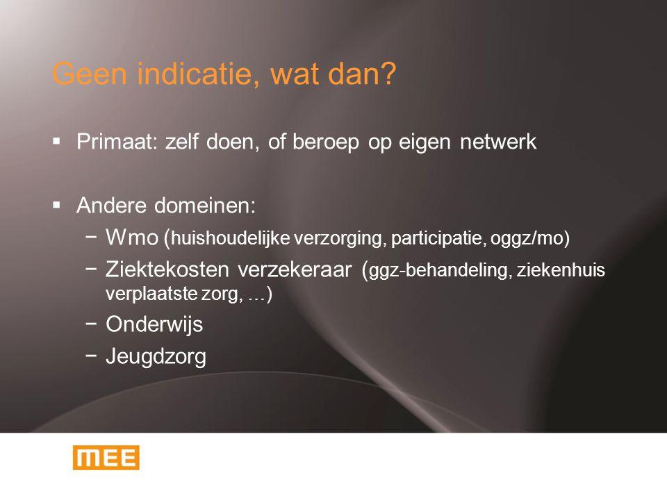 Geen indicatie, wat dan?  Primaat: zelf doen, of beroep op eigen netwerk  Andere domeinen: −Wmo ( huishoudelijke verzorging, participatie, oggz/mo)