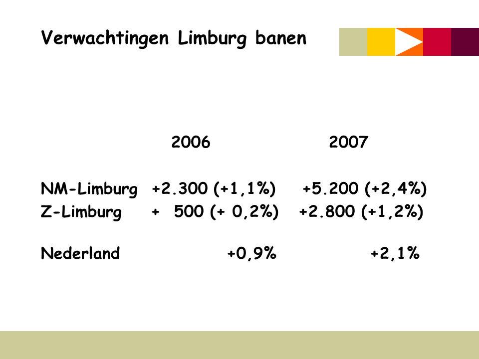 Verwachtingen Limburg banen 2006 2007 NM-Limburg +2.300 (+1,1%) +5.200 (+2,4%) Z-Limburg + 500 (+ 0,2%) +2.800 (+1,2%) Nederland +0,9% +2,1%