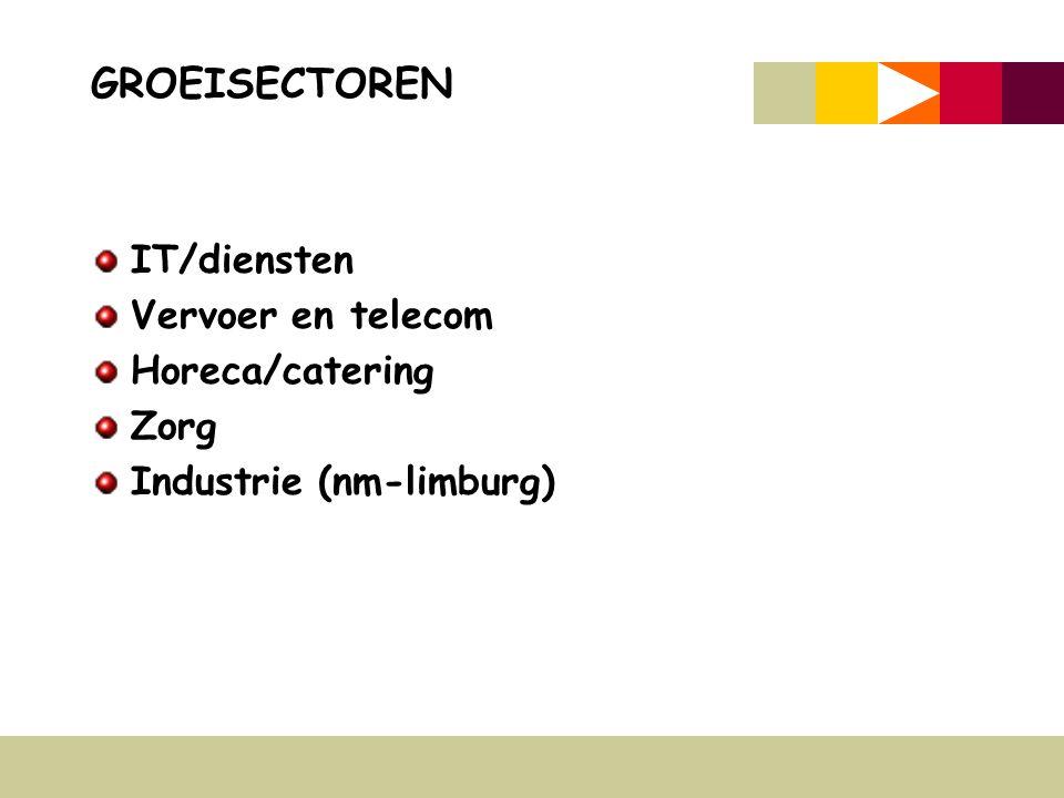 GROEISECTOREN IT/diensten Vervoer en telecom Horeca/catering Zorg Industrie (nm-limburg)
