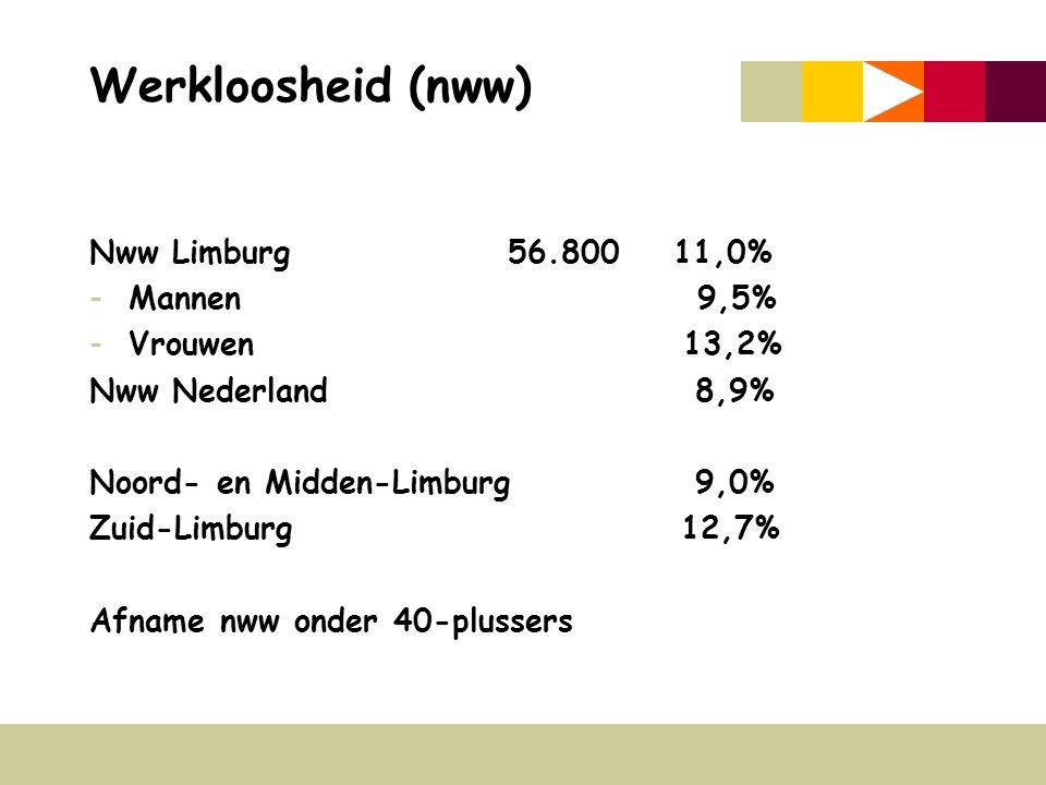 Werkloosheid (nww) Nww Limburg56.800 11,0% -Mannen 9,5% -Vrouwen 13,2% Nww Nederland 8,9% Noord- en Midden-Limburg 9,0% Zuid-Limburg 12,7% Afname nww onder 40-plussers