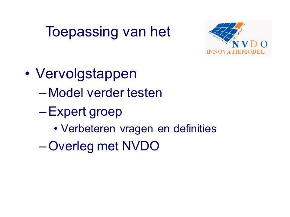 Vervolgstappen –Model verder testen –Expert groep Verbeteren vragen en definities –Overleg met NVDO Toepassing van het