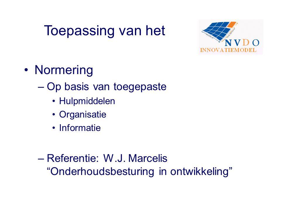 """Normering –Op basis van toegepaste Hulpmiddelen Organisatie Informatie –Referentie: W.J. Marcelis """"Onderhoudsbesturing in ontwikkeling"""" Toepassing van"""