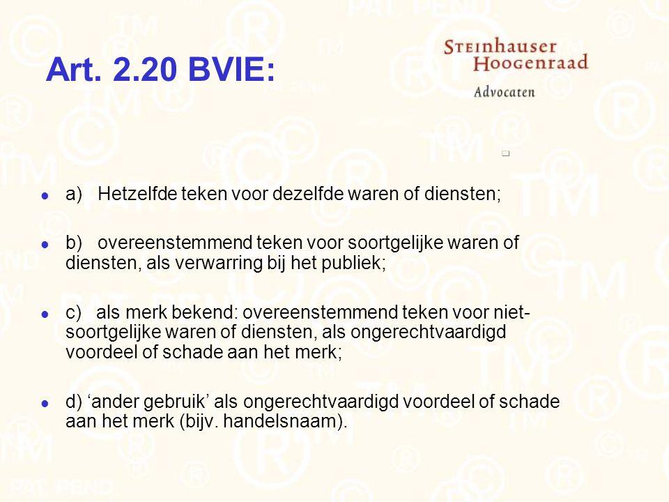 Art. 2.20 BVIE: a) Hetzelfde teken voor dezelfde waren of diensten; b) overeenstemmend teken voor soortgelijke waren of diensten, als verwarring bij h