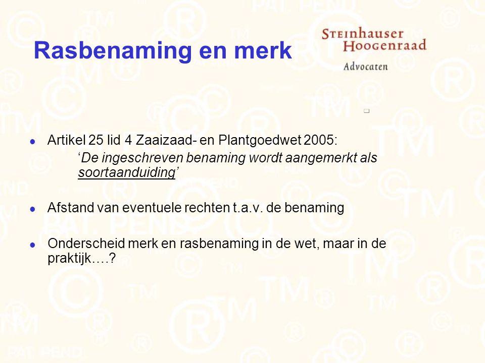 Rasbenaming en merk Artikel 25 lid 4 Zaaizaad- en Plantgoedwet 2005: 'De ingeschreven benaming wordt aangemerkt als soortaanduiding' Afstand van eventuele rechten t.a.v.
