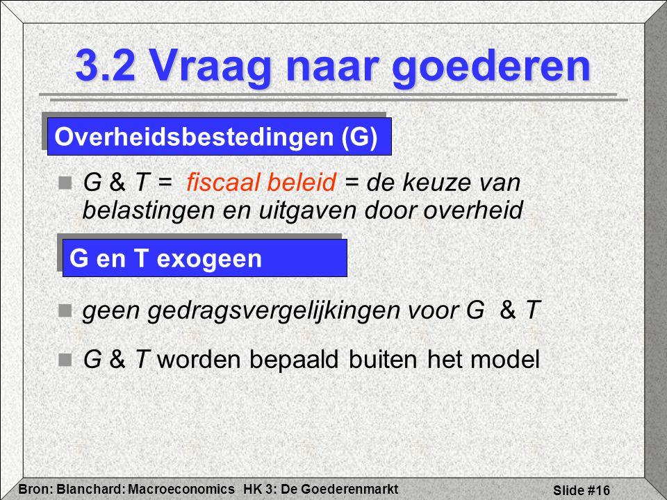 HK 3: De GoederenmarktBron: Blanchard: Macroeconomics Slide #16 3.2 Vraag naar goederen G & T = fiscaal beleid = de keuze van belastingen en uitgaven
