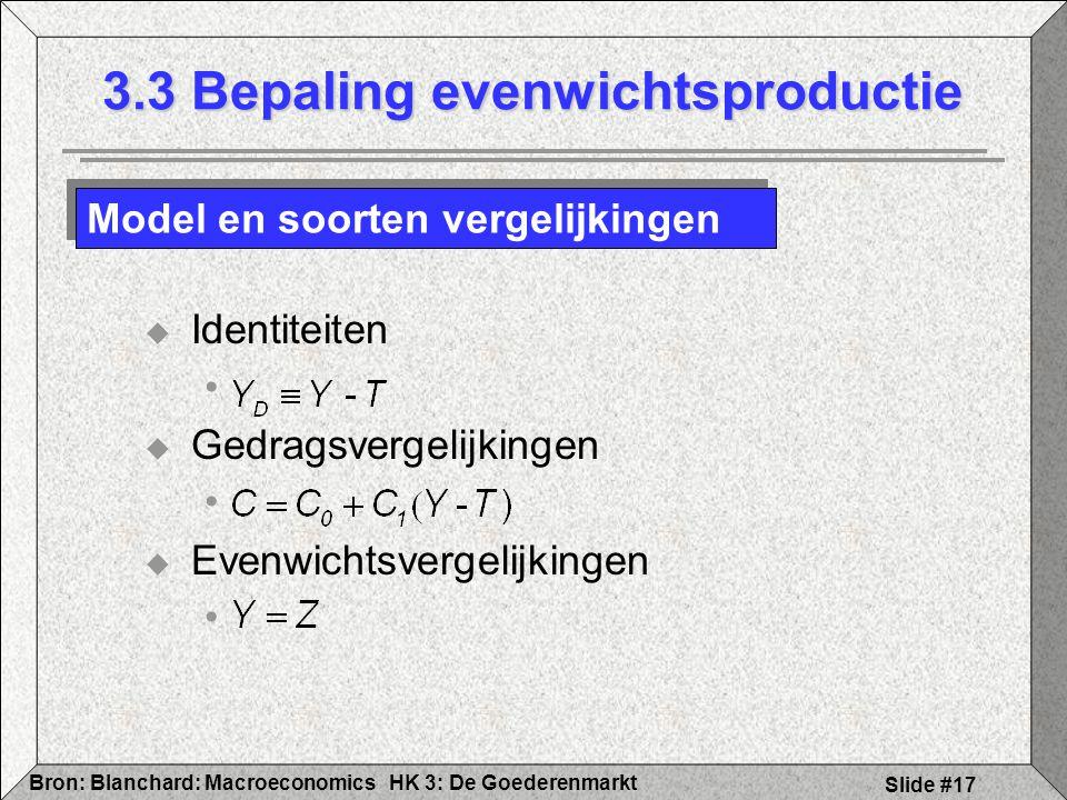 HK 3: De GoederenmarktBron: Blanchard: Macroeconomics Slide #17  Identiteiten  Gedragsvergelijkingen  Evenwichtsvergelijkingen 3.3 Bepaling evenwic