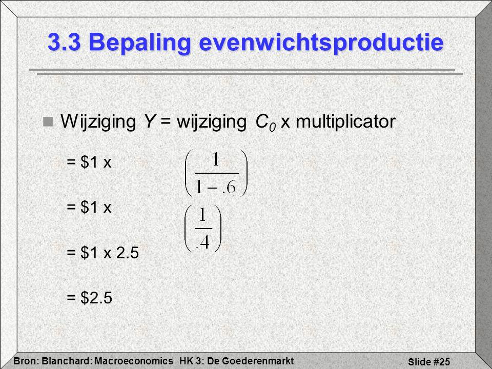 HK 3: De GoederenmarktBron: Blanchard: Macroeconomics Slide #25 Wijziging Y = wijziging C 0 x multiplicator = $1 x = $1 x 2.5 = $2.5 3.3 Bepaling even