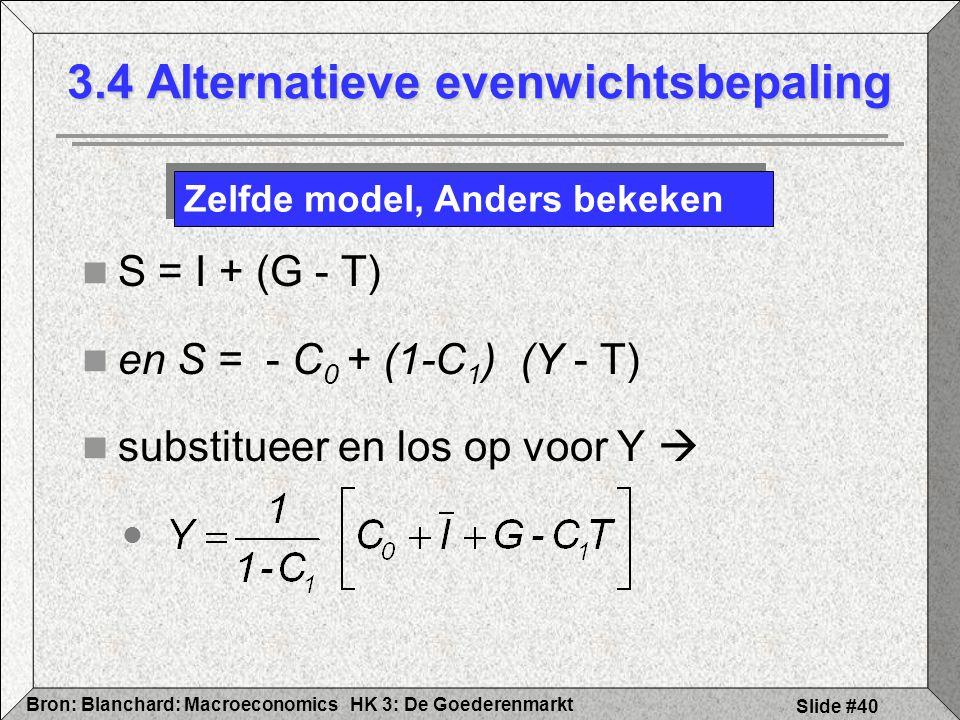 HK 3: De GoederenmarktBron: Blanchard: Macroeconomics Slide #40 S = I + (G - T) en S = - C 0 + (1-C 1 ) (Y - T) substitueer en los op voor Y  3.4 Alt