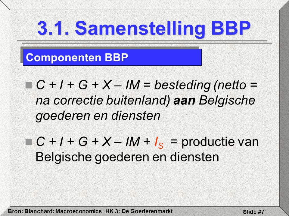 HK 3: De GoederenmarktBron: Blanchard: Macroeconomics Slide #38 S = I + (G - T) overheidsdeficit G > T => I < S Deel van sparen gaat naar overheidsdeficit ipv naar investeringen 3.4 Alternatieve evenwichtsbepaling Overheidsdeficit