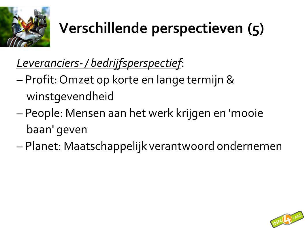 Verschillende perspectieven (5) Leveranciers- / bedrijfsperspectief: – Profit: Omzet op korte en lange termijn & winstgevendheid – People: Mensen aan