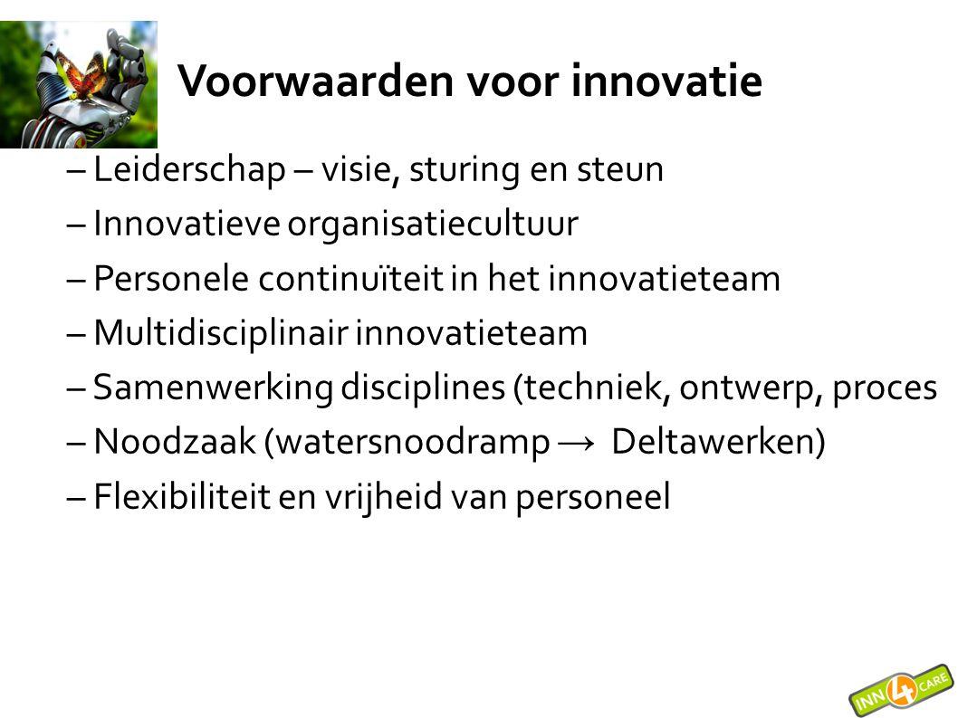 – Leiderschap – visie, sturing en steun – Innovatieve organisatiecultuur – Personele continuïteit in het innovatieteam – Multidisciplinair innovatiete