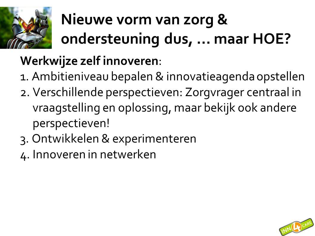 ORG X Perceptie waar de organisatie staat Nu: Projecten 1-3 jaar: Experimenten 2-5 jaar:Toekomstverkenning Grenzen van de innovatie agenda Waar het veld al mee bezig is Innovatiedomein: NIEUWE ZORGVORMEN Oplossingen (deels)bewezen in andere omgevingen Ontwikkeling aan de horizon Organisatie domein: Best practices Ambitieniveau & innovatie agenda