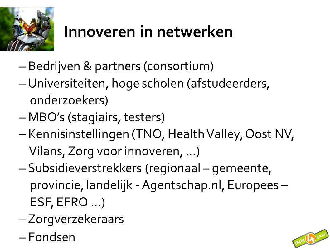 Zelf innoveren (1) Stappen om te komen tot innovaties: – DROMEN = Ideeën genereren en GEEN doelen stellen – CREËREN = Verkennen van oplossingen – GEEN projectplan opstellen – en selecteren .