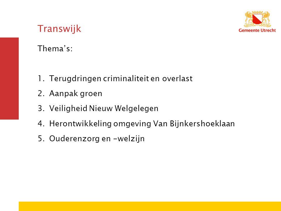 Transwijk Thema's: 1.Terugdringen criminaliteit en overlast 2.Aanpak groen 3.Veiligheid Nieuw Welgelegen 4.Herontwikkeling omgeving Van Bijnkershoekla