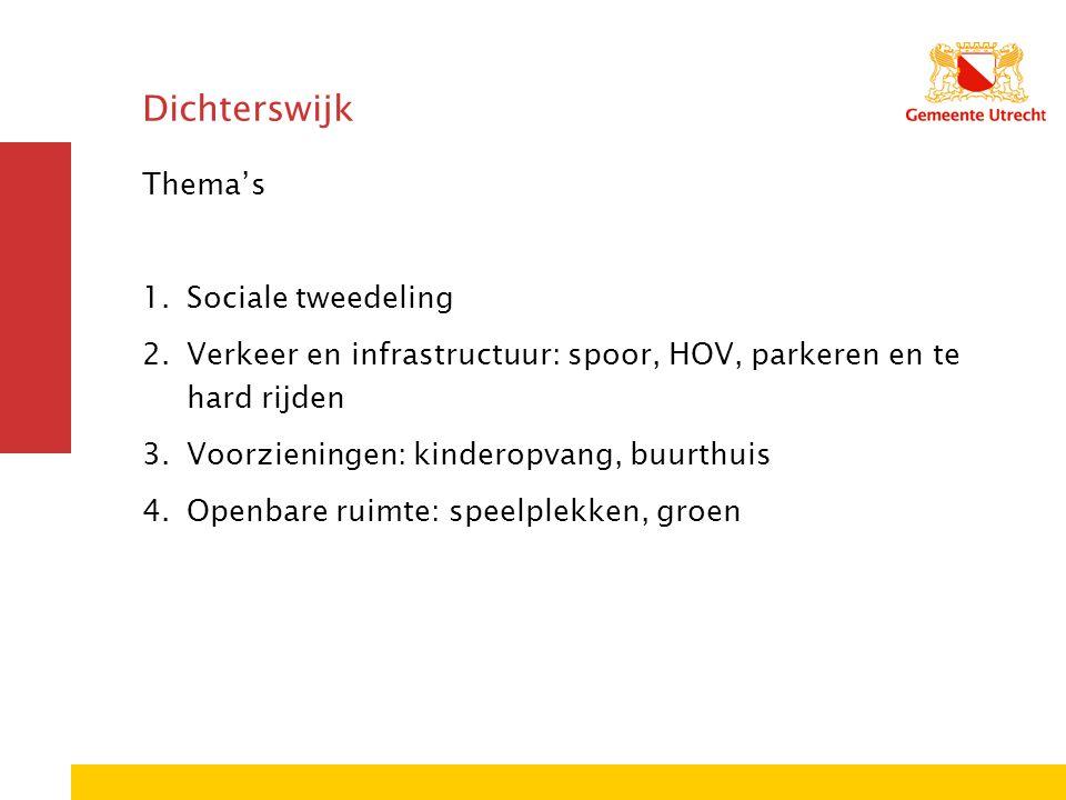 Dichterswijk Thema's 1.Sociale tweedeling 2.Verkeer en infrastructuur: spoor, HOV, parkeren en te hard rijden 3.Voorzieningen: kinderopvang, buurthuis