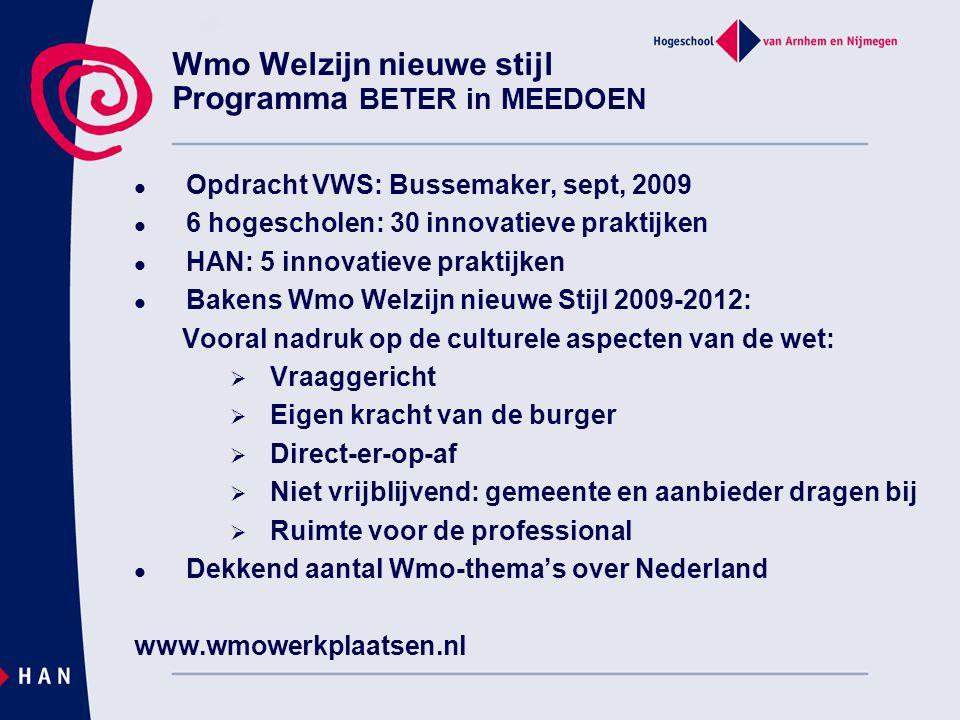 Wmo Welzijn nieuwe stijl Programma BETER in MEEDOEN Opdracht VWS: Bussemaker, sept, 2009 6 hogescholen: 30 innovatieve praktijken HAN: 5 innovatieve p